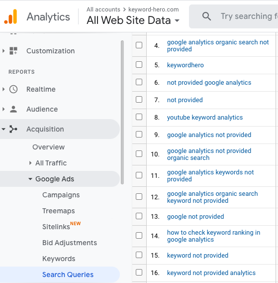 Google Analytics Search Queries