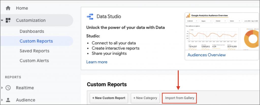 Import custom google analytics report