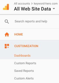 select dashboards from the customization tab in