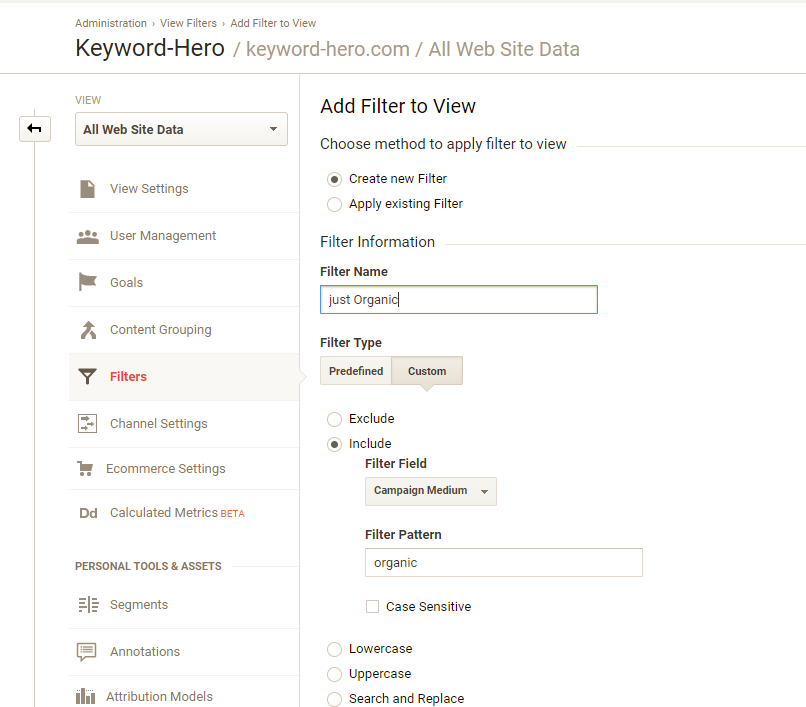 filter organic traffic only in Google Analytics
