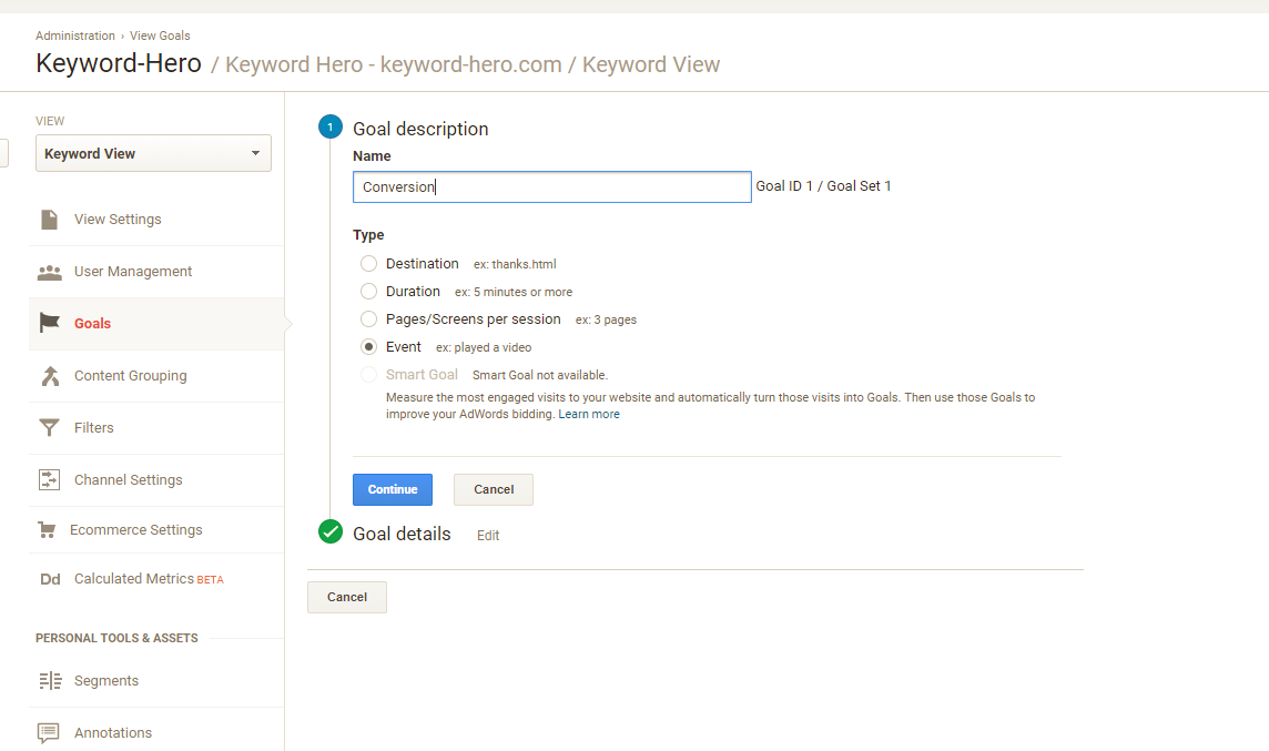 goal set up page in Google Analytics Keyword Hero