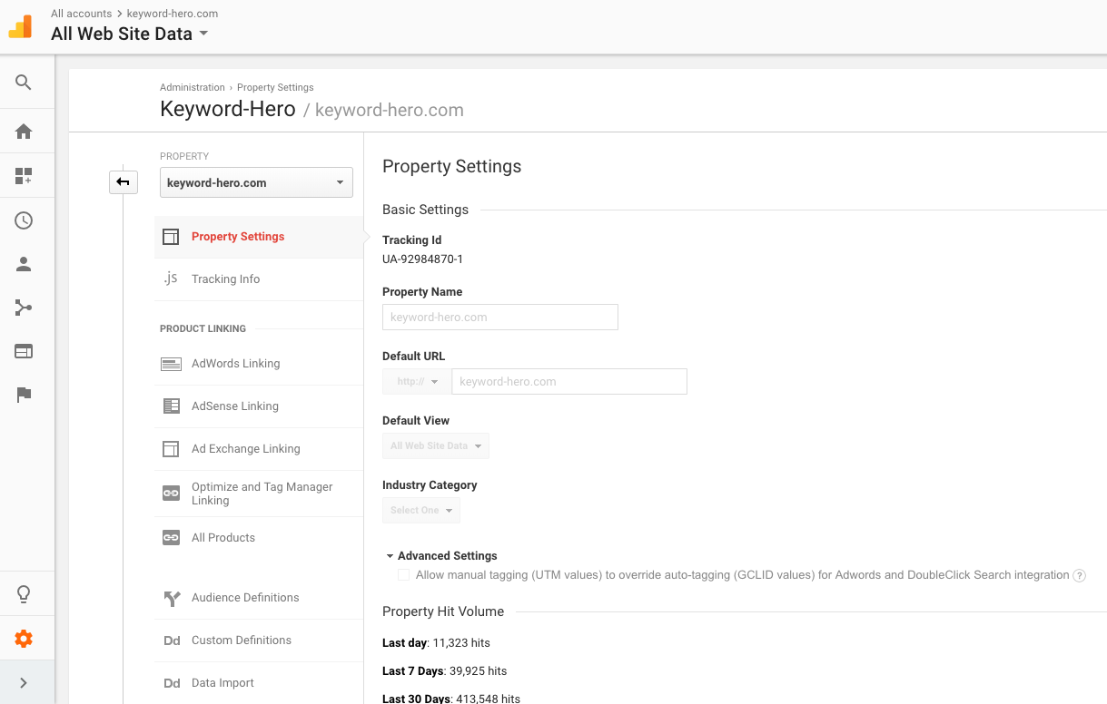 hits in google analytics property