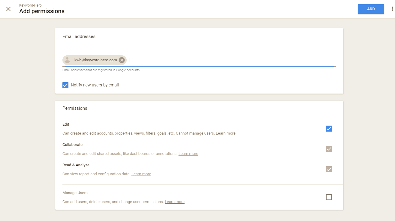 edit permissions for user in Google Analytics