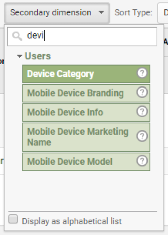 device categories in google Analytics