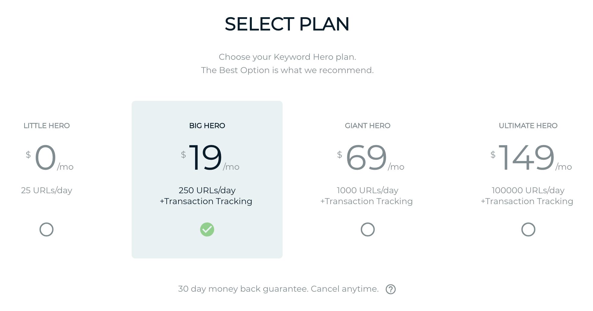 selecting a plan in keyword hero