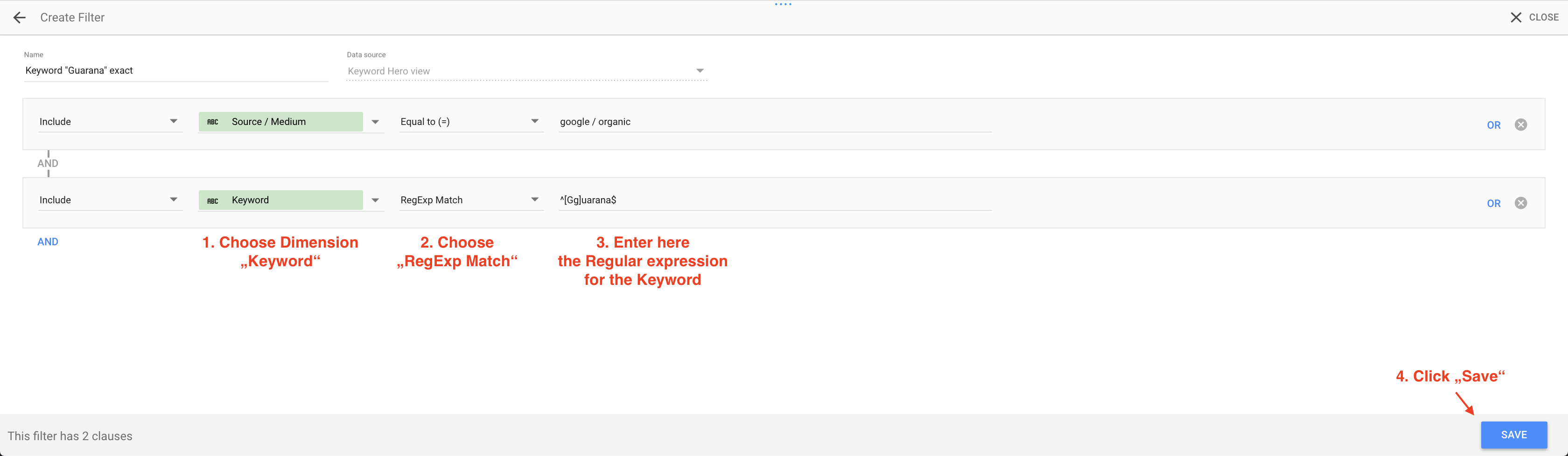 Google data studio create keyword filter