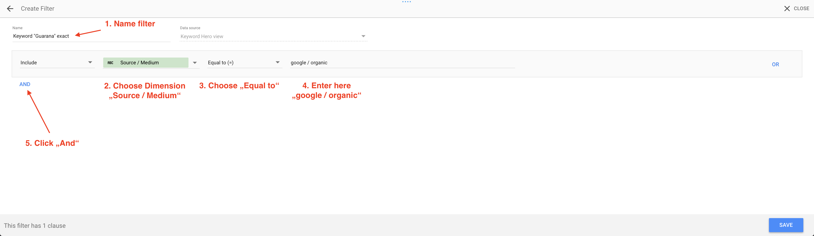 Google data studio create source-medium filter