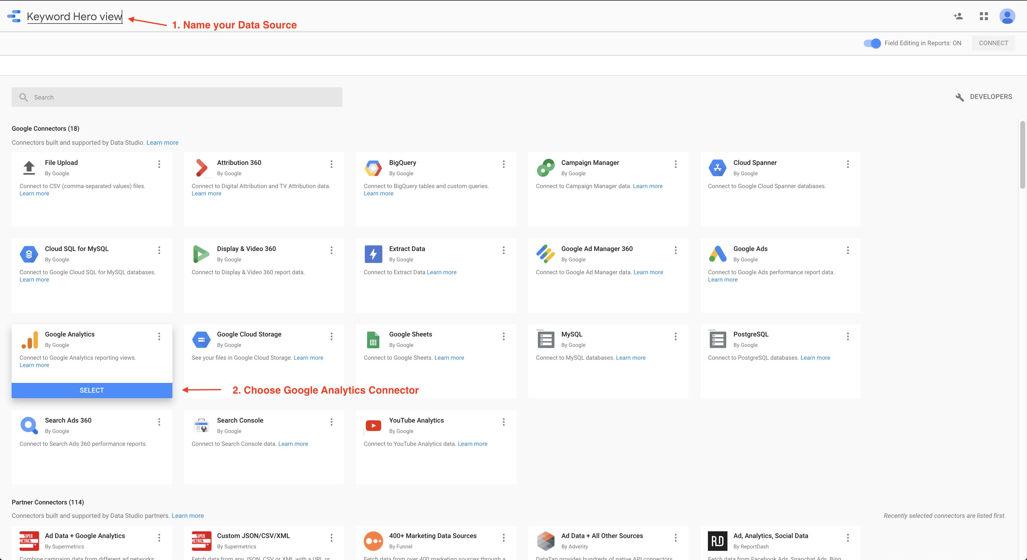 Google data studio datasource connector