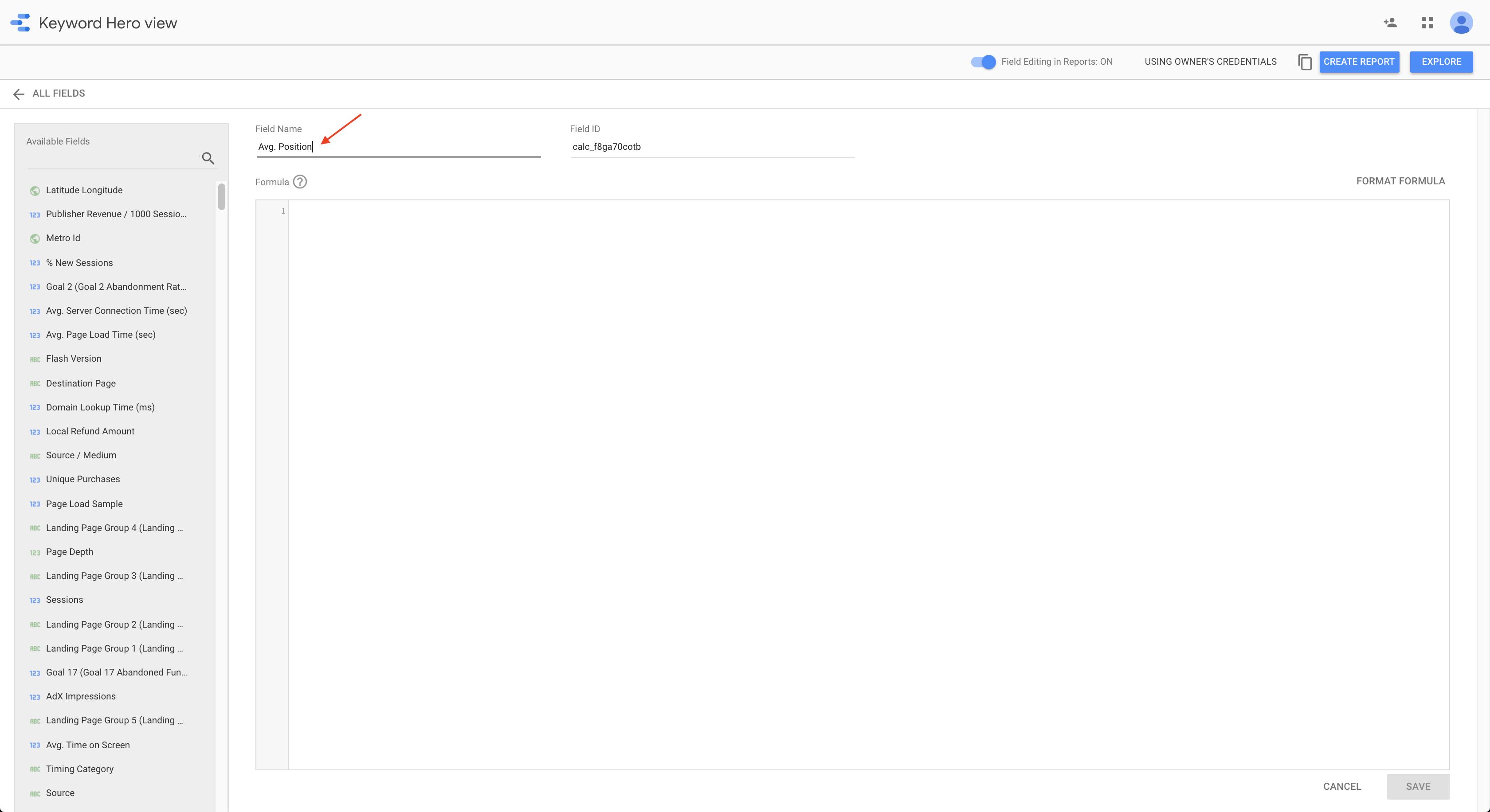 Google data studio field editor