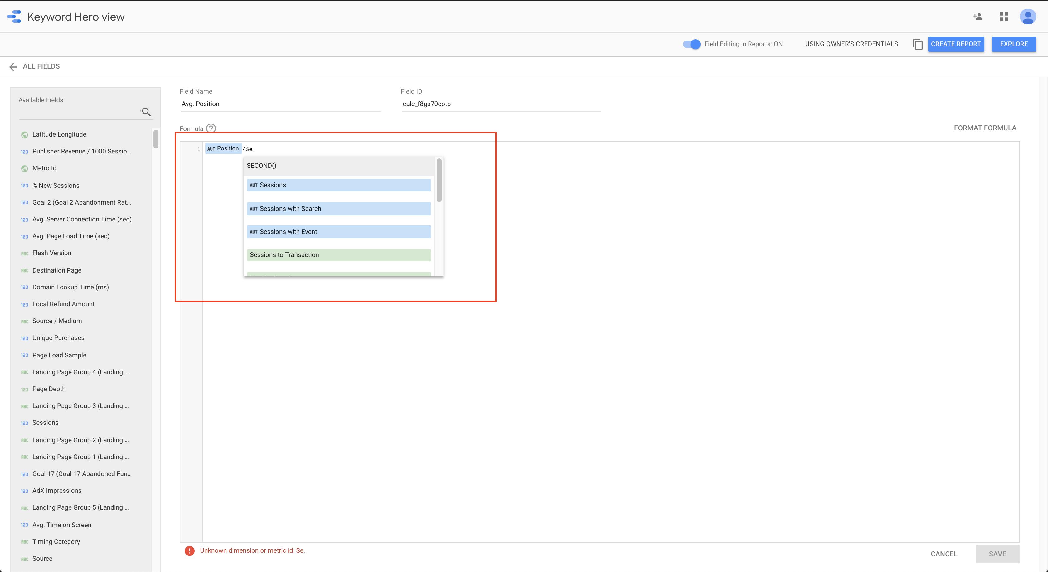 Google data studio field formula