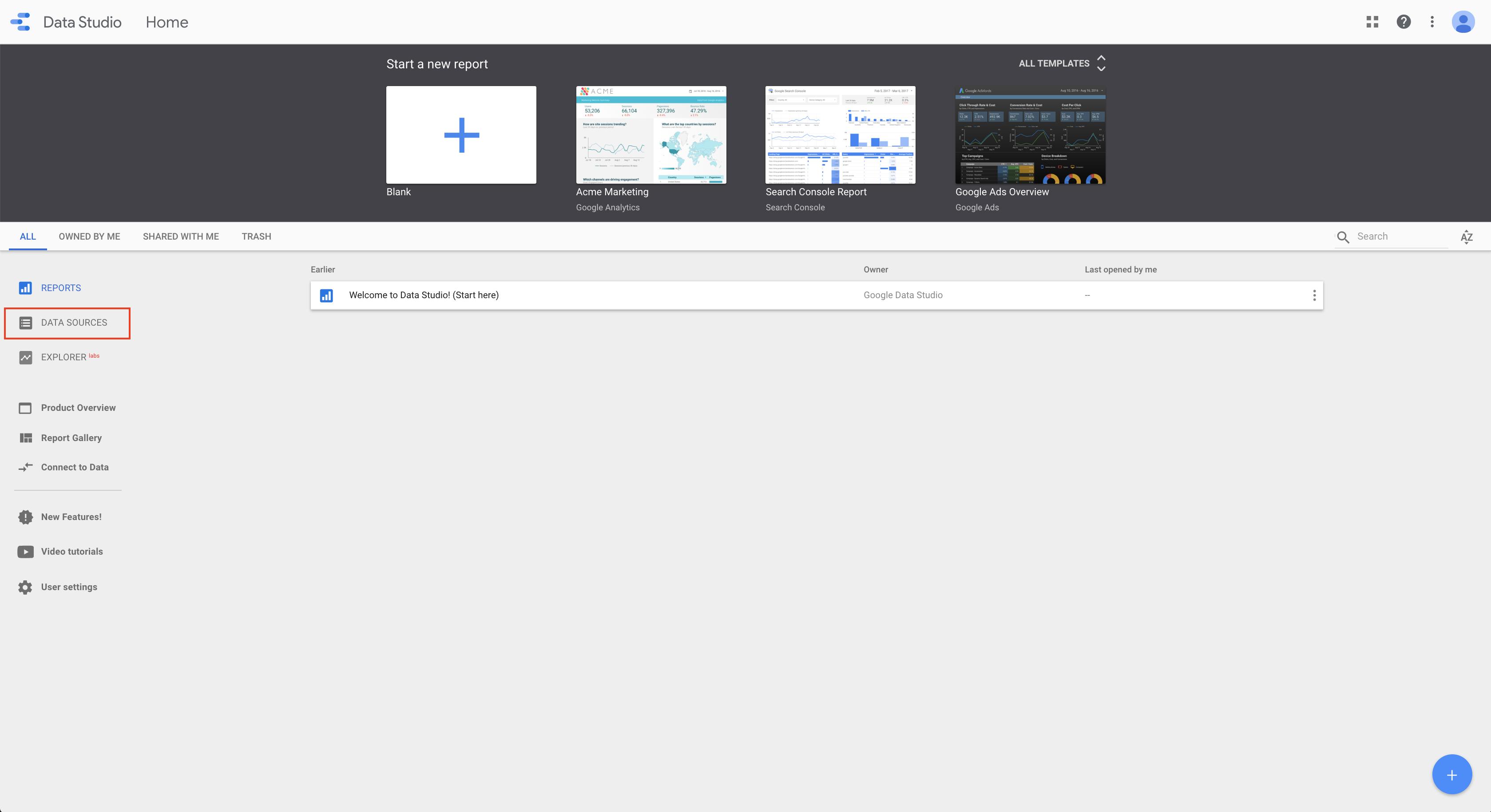 Google data studio welcome