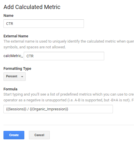Add calculated Metrics to Google Analytics