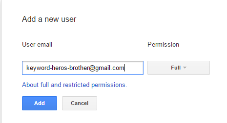 adding a new user email to GSC