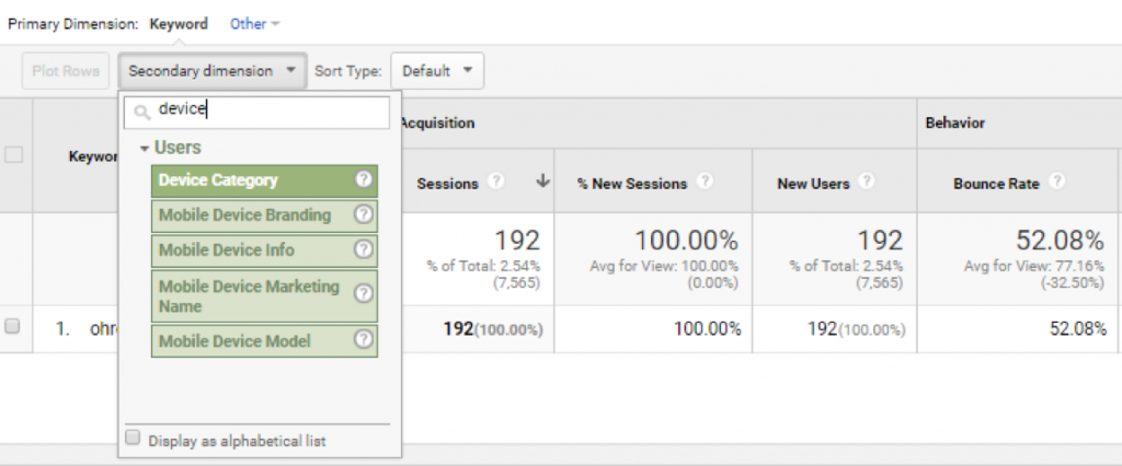using secondary and custom dimensions in Google Analytics