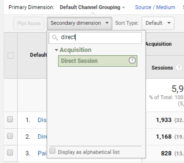 direct session dimension in Google Analytics
