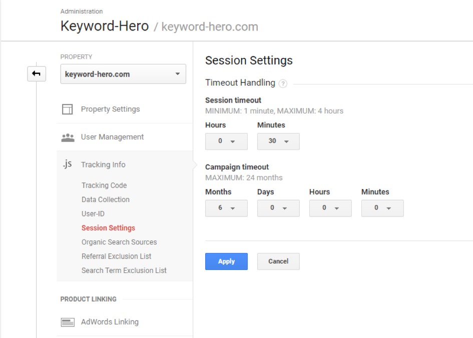 session time out in Google Analytics