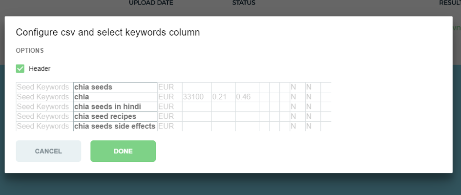 output of keywordplanner and clustering engine