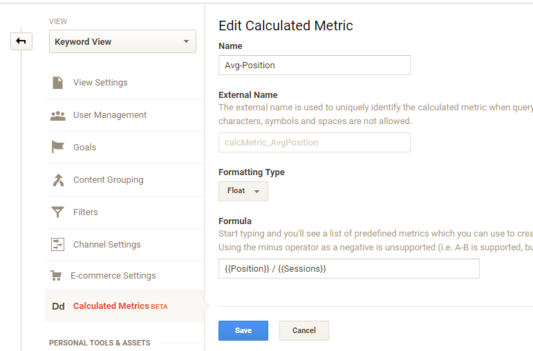 Add calculated Metrics